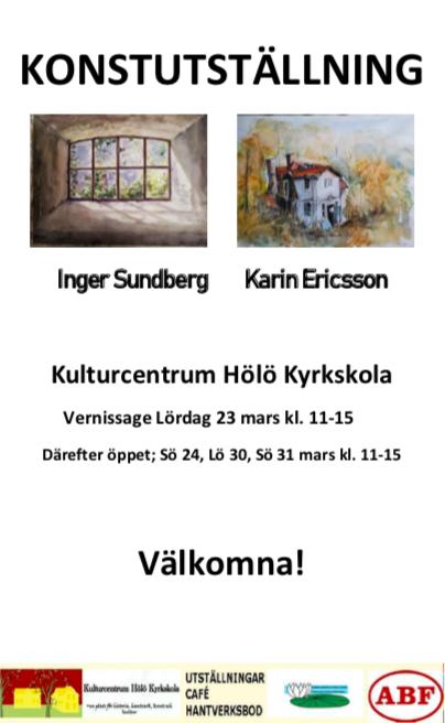 Konstutställning   Inger Sundberg  Karin Ericsson @ Gula Salen
