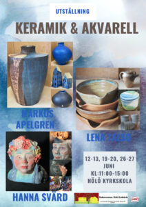 Lena Talso/keramik  Markus Apelgren/keramik Hanna Svärd/keramik och måleri @ GulaSalen i Hölö Kyrkskola